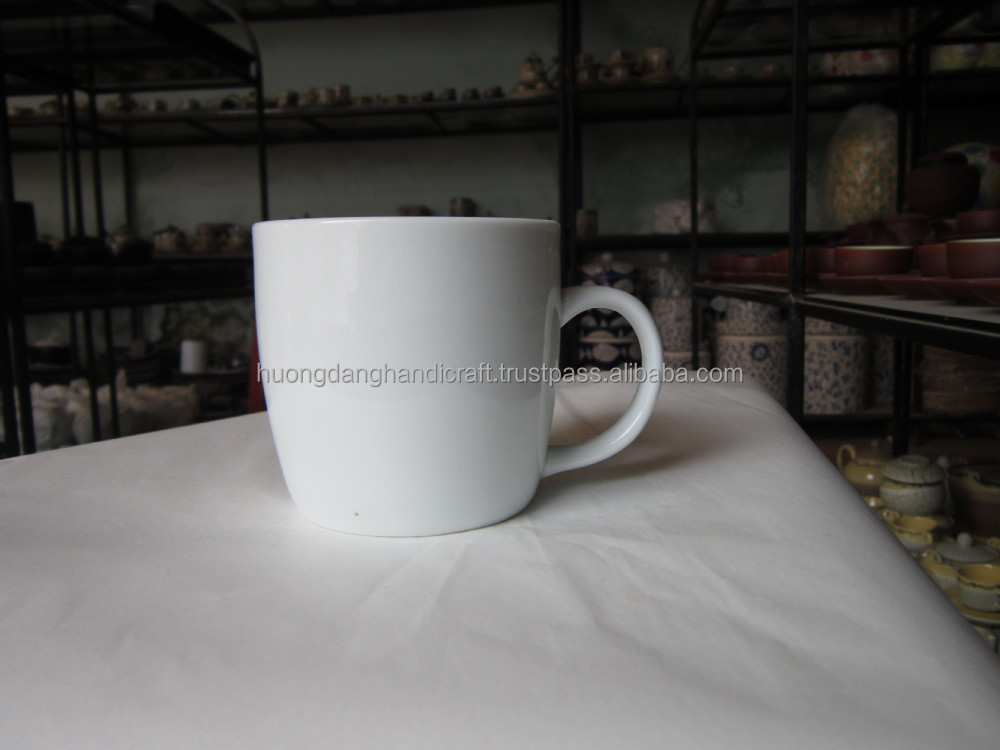 Plain white ceramic beer mug/cup from Bat Trang Pottery Traditional village in Vietnam