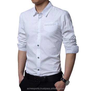men s new style classic pure color simple contract slim fit cotton shirt e1de03d5d