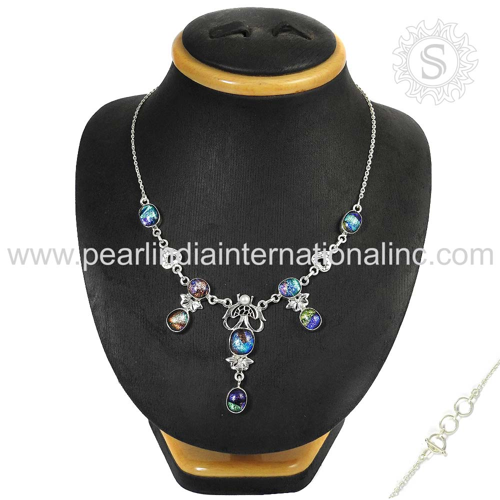 Nailing Dico Glass Gemstone Silver Necklace 925 Sterling Silver Jewelry Wholesale Jewelry