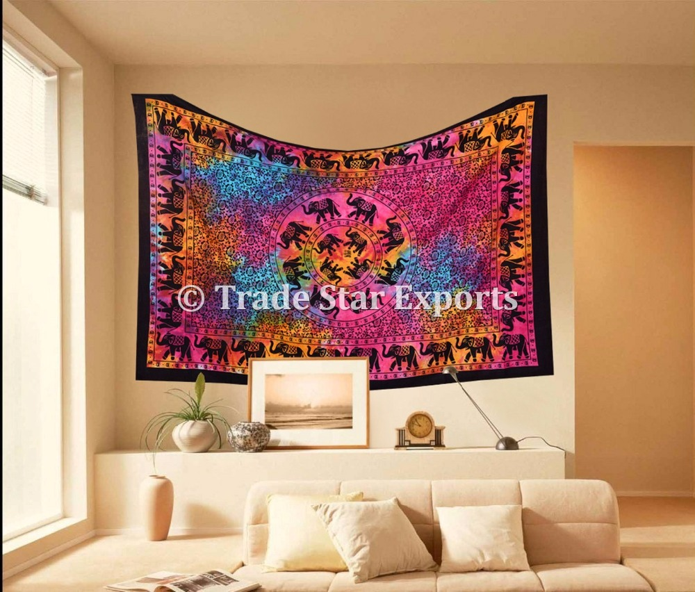 Good Luck Elephant Print Twin Wall Hanging Ethnic Tie Dye Home Decor Tapestry