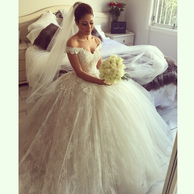 YASA-5089 Sexy see through bridal dress satin Puffy dress wedding ...