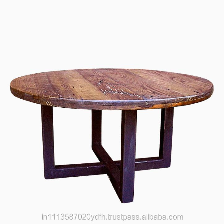 Country Side Wood And Iron Coffee Table