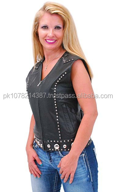 2015 New fashion Rivet Trim Womens Zip leather Vest for womens
