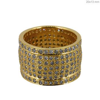 Pave Diamond 14kt Yellow Gold Band Wedding Design Ring Wholesale