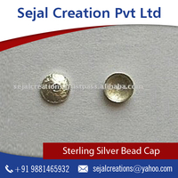 Sterling Silver Round Brushed Bead Caps with Smooth Satin Finish for Elegant Look