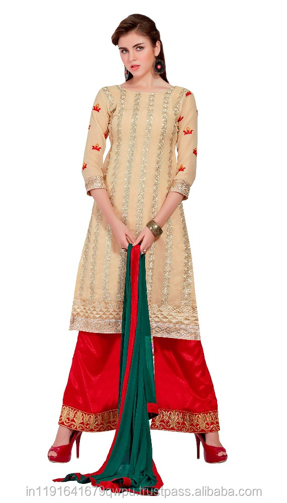 27ee91c2d70 Semi Stitched Georgette Embroidered Plazo Suit Online Shopping In India  Surat