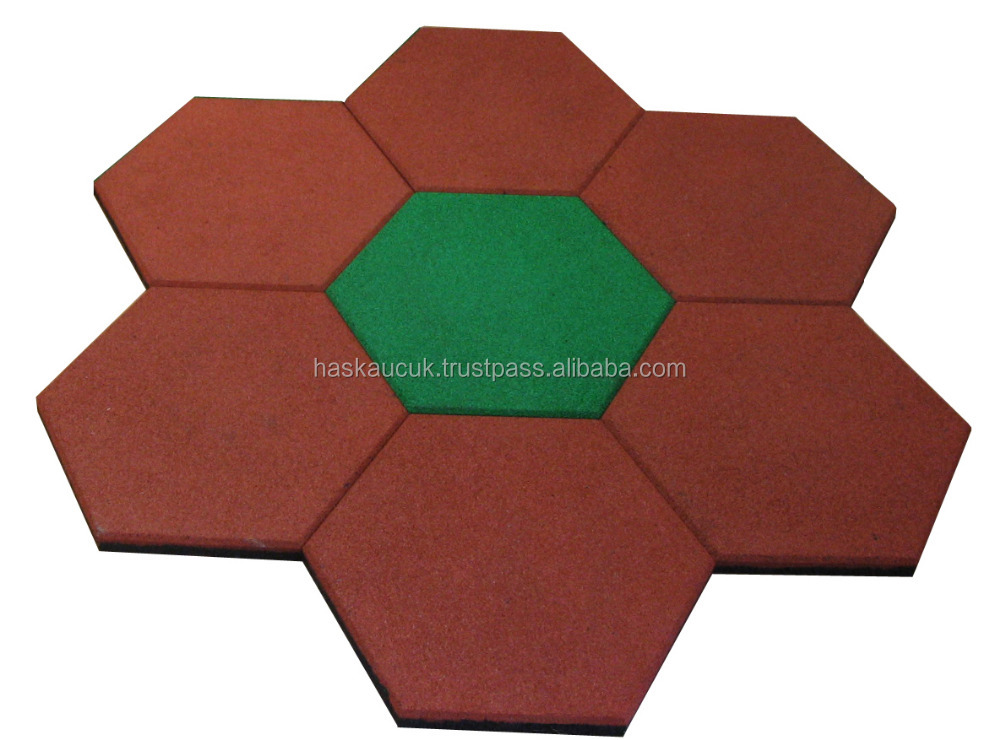 45*40 2,0 cm Safety SBR HEXAGON RUBBER FLOOR TILES For Outdoor /Playgrounds Hot Sale, High Quality, Non-toxic