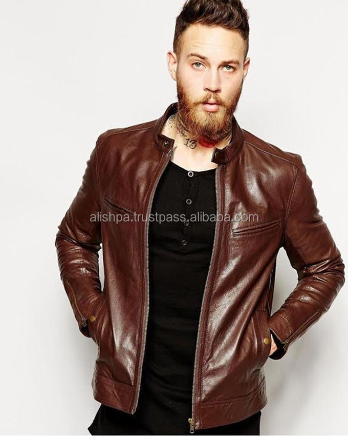 Dark Brown Leather Biker Jacket For Men - Buy Xxx Xxx Man Jacket ...