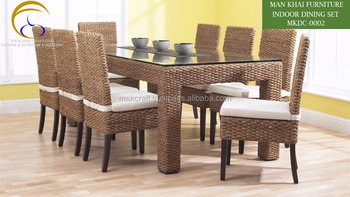Water Hyacinth Indoor Dining Table Set Room Furniture Home Rattan Chair