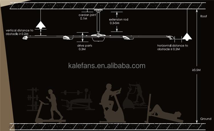 Kale 8ft 10ft 12ft 14ft Montato A Soffitto Grande HVLS Fan per Commerciale