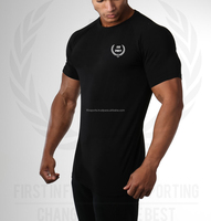 spandex muscle fit gym t-shirt, muscle printed t shir