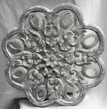 Home Decor Elegant And Unique Wooden Carved Floral Design with Lime Finish = Indian Fine Carved Wall Panel