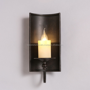 Black Iron Wall Hanging Candle Holder