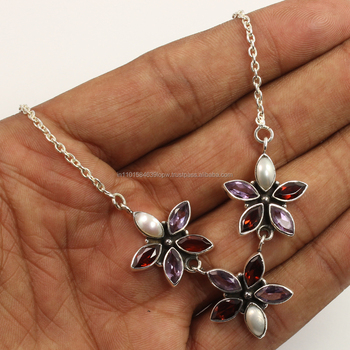 925 Sterling Silver Natural AMETHYST, PEARL & GARNET Gemstone Necklace Wholesale Suppliers