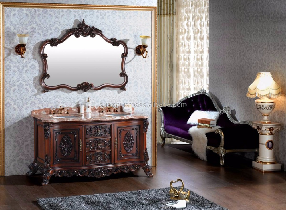 Premium washroom Furniture , Bathroom Cabinets , Bathroom wooden accessories , Carving cabinets Vanity Brown Polished