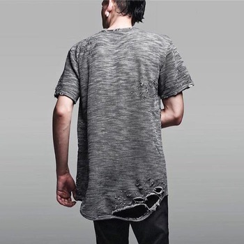 41abf051 wholesale Distressed elongated t shirts - short front and long back fish  tail Elongated t shirts