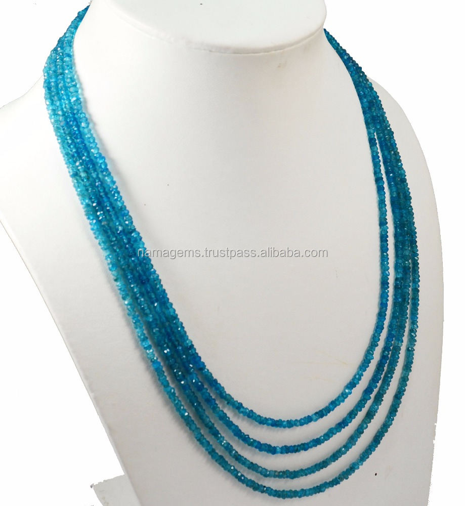 wedding jewelry making neon apatite gemstone 3-4 mm roundel faceted loose beads ready necklace