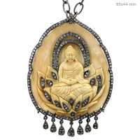 Pave Diamond Bone Religious Jewelry 925 Silver Gemstone Carving Buddha Pendant