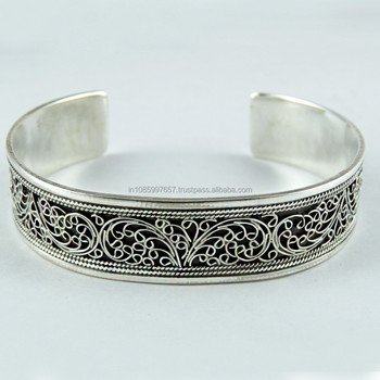 Indian Charm Oxidized Silver 925 Sterling Carving Work Bangle Indian