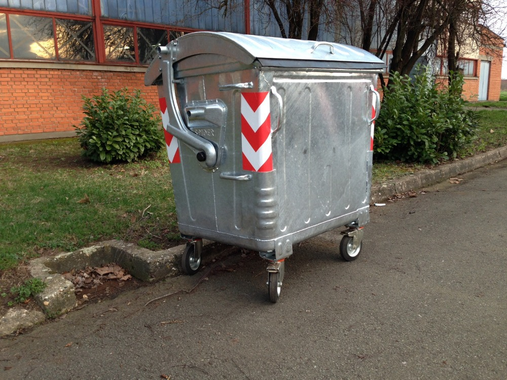 Hot Dip Galvanized Steel Waste Bin 1100l With Dome Metal Lid