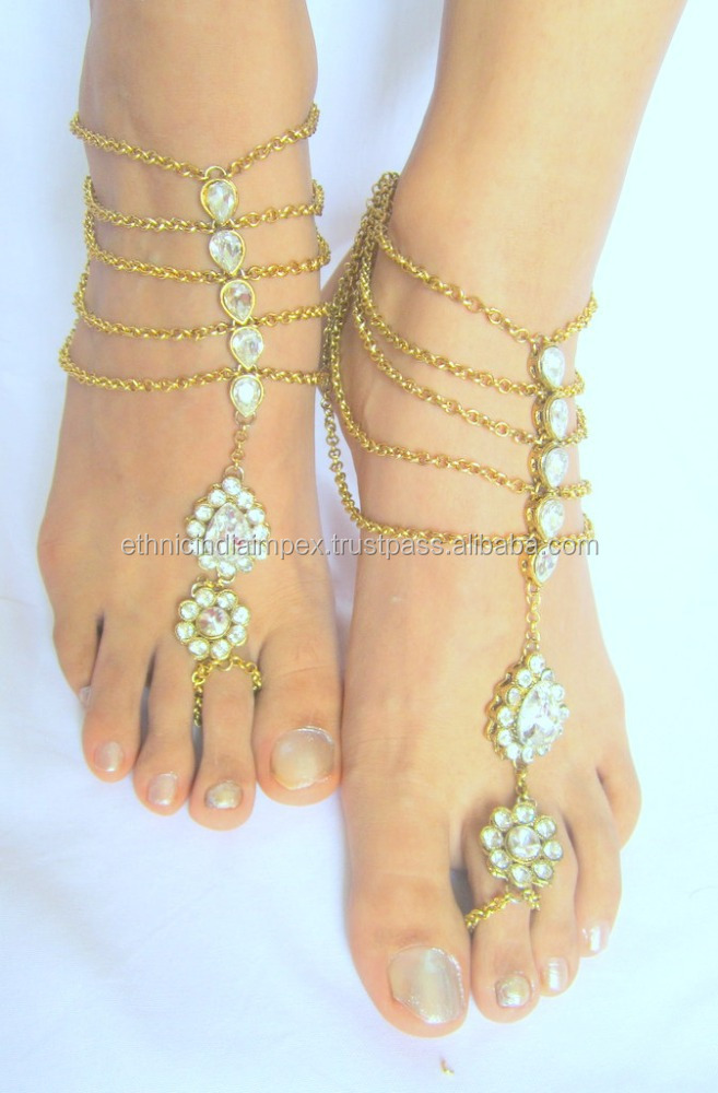 Gold Tone Kundan Chain Payal Anklets Pair Toe Ring Buy Anklets