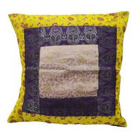 Designer Big Cushion Cover Mustard Patchwork Woven Work Home Decor Pillow Case India 24'' Inches PL7436