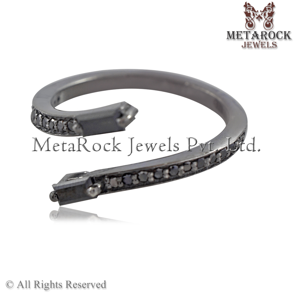 Black Baguette Diamonds Handmade Single Line Pave 925 Sterling Silver Fashion Ring Designer Jewelry Metarock Jewels