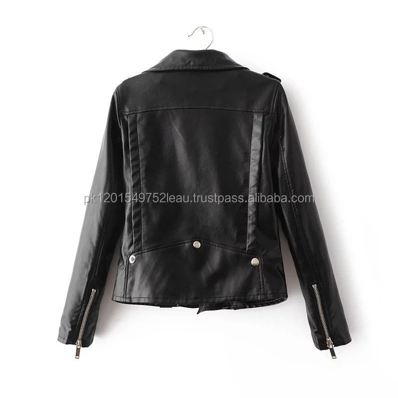 high quality fashion slim fit motorcycle sheep skin custom plain black genuine leather jacket women