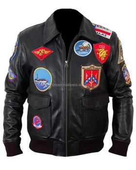 974c68072080 Top Gun черная кожаная куртка бомбардировщик, Patch Bomber Jacket, кожаная  куртка-пилот