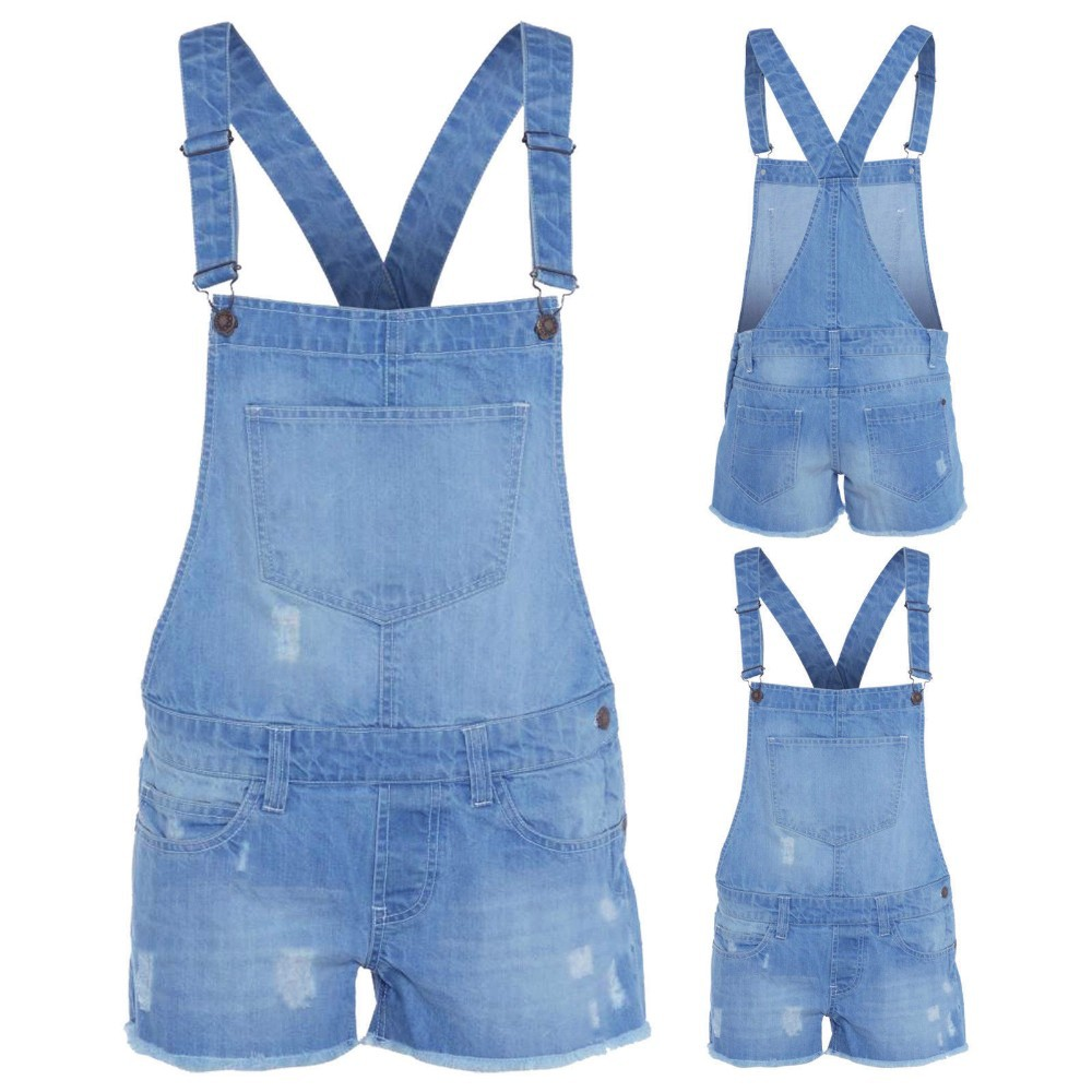 d6a7f784813 NEW WOMEN S LADIES DENIM DUNGAREE SHORTS DRESS JUMPSUIT SIZE 8 10 12 14 16