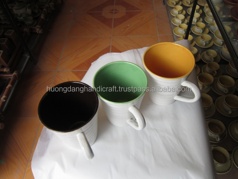 Various colors ceramic coffee cup made in Bat Trang traditional village Vietnam for wholesale