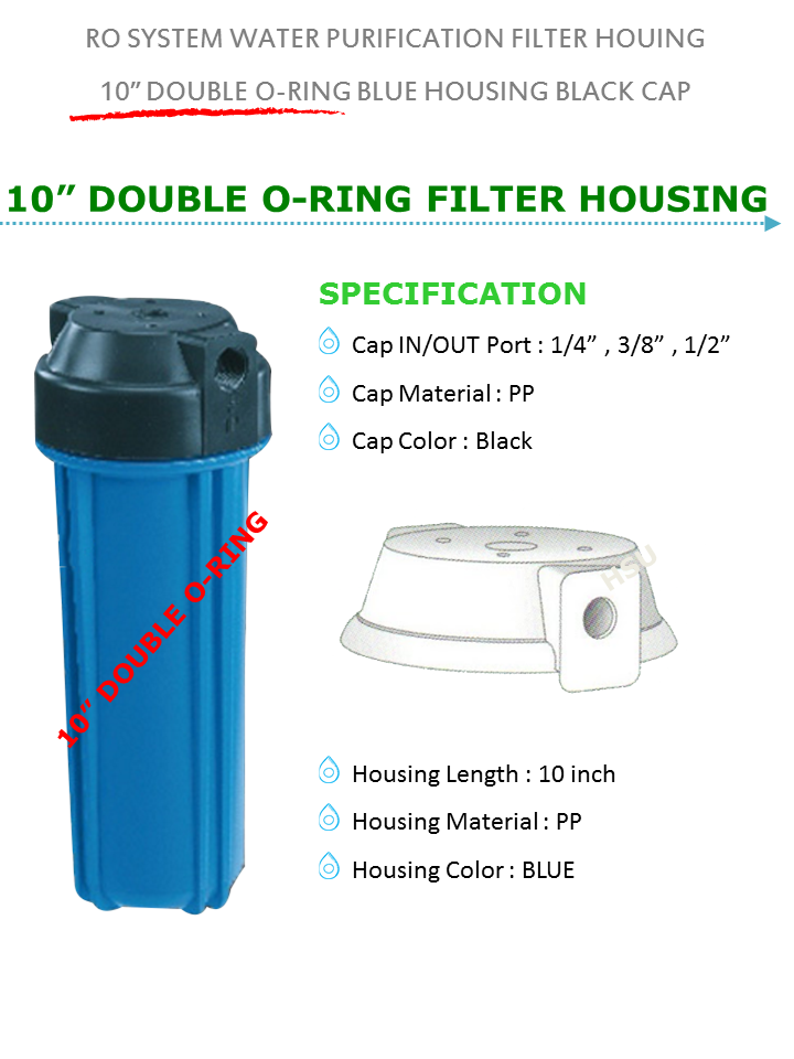 Reverse Osmosis 10 Inch Filter Cartridge Double O-ring Blue Housing ...