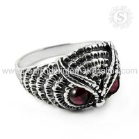 Beautiful Red Garnet 925 Sterling Silver Jewelry Engagement Owl Ring