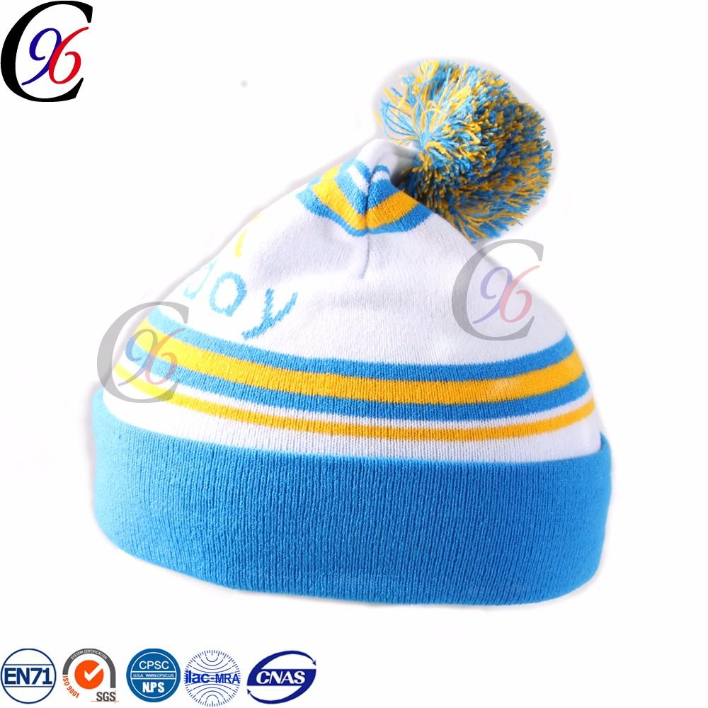 Chengxin definition colorful slouchy knit crochet beanie toque pom pom  winter hat 3535e7fd19a