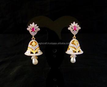 Jhumka Earring Whole Cz Party Wear American Diamond Jhumki Bollywood Style