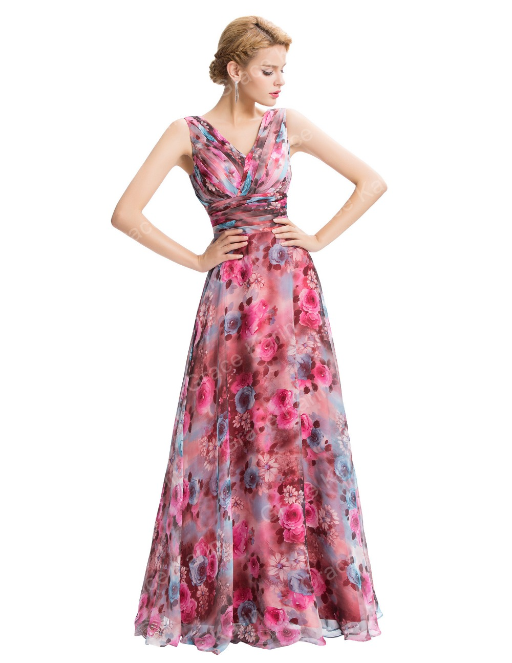 Grace karin new sleeveless v neck floral pattern chiffon long grace karin new sleeveless v neck floral pattern chiffon long bridesmaid dress gk000058 1 ombrellifo Image collections