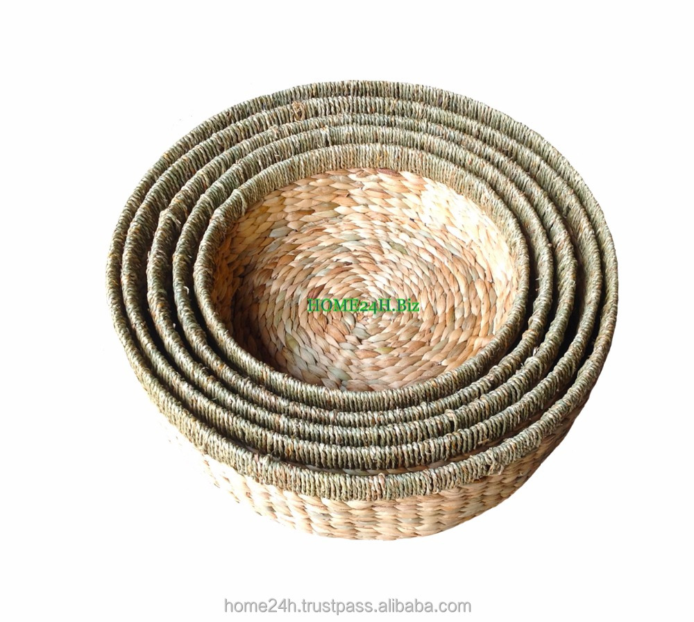 Wholesale Round Basket Storage,Set Of Five S/5 Seagrass Rim Top ...
