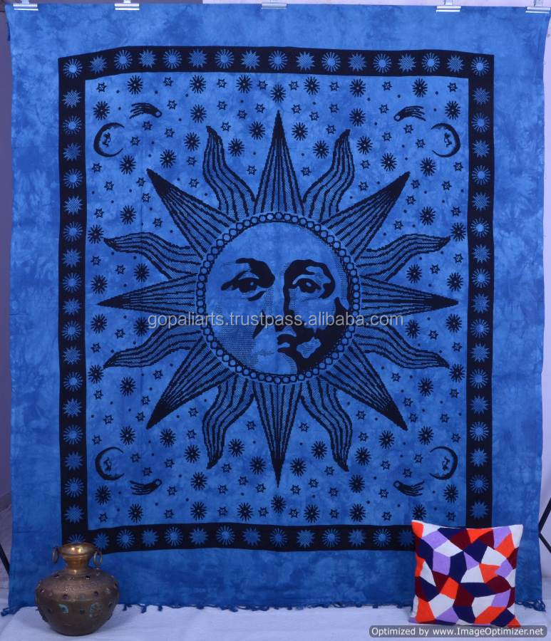 Indian Sun Queen Cotton psychedelic Celestial Tapestry, Dorm Decor - Beach Picnic Sheet - Hanging Wall Art - Yoga Decoration Art