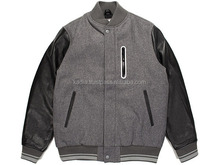 Black Leather Sleeves Dark grey Fleece body jacket