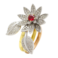 Stylish openable flower and leaf 14k yellow gold real ruby and real diamond ring for Girls