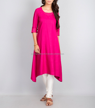 Magenta tussar cotton Asymmetric zari top stitch yoke long kurta