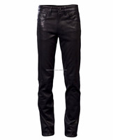 Wholesale Custom Mens Casual Black Leather Jogger Pants
