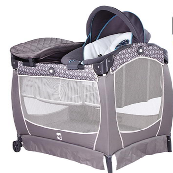 Baby Playpen Nursery Station Zipped Double Layer Fabric Lace Easy Carry Light Foldable Travel