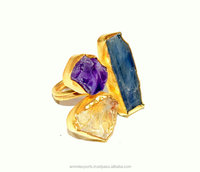 Bazel Set Rough Amethyest, Citrine, Tanzanite Ring Sterling Silver Jewellery Factory Price