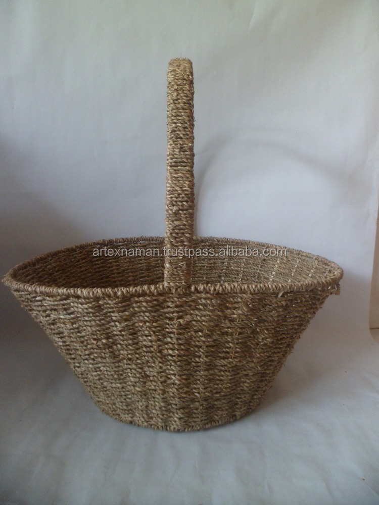 New product! Fruit seagrass basket, essential household cheap fruit basket with handle