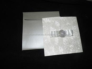 Rose Flower Embossed Ivory Handmade Paper Wedding Invites With
