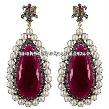 14k Gold Pearl Drop Earrings Silver Pear Shape Diamond Ruby Jewelry Gemstone Exporter 925 Sterling Dangle