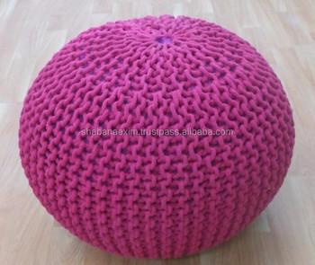 Knit Pouf Ottoman | Crochet Pouf Ottoman Handmade Cotton Knitted Pouf Moroccan Poufs