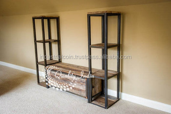 Metallic And Wooden Tv Stand With Side Shelves Buy Wood Free