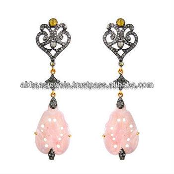 14k Gold Pink Opal Dangle Earrings Silver Diamond Designer Gemstone Carving Flower Handmade Jewelry